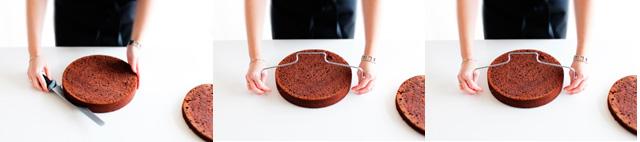 Skær kagen til lagkagebunde