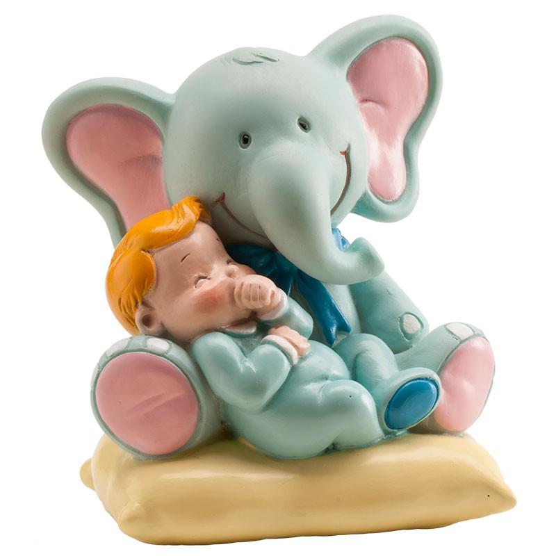 Image of   Elefant med baby figur, blå 7 x 9 x 10 cm.