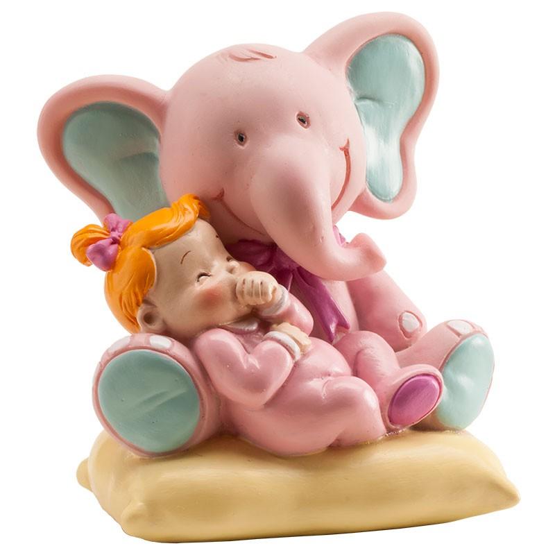 Image of   Elefant med baby figur, lyserød 7 x 9 x 10 cm.