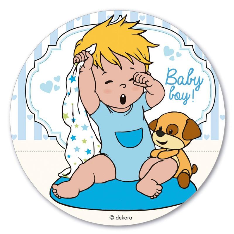 Sukkerprint vaffelpapir baby dreng – ø 20 cm.