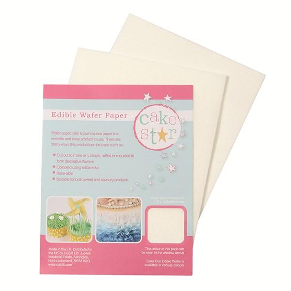 Image of   Cake Star hvid spiseligt papir - 12 stk