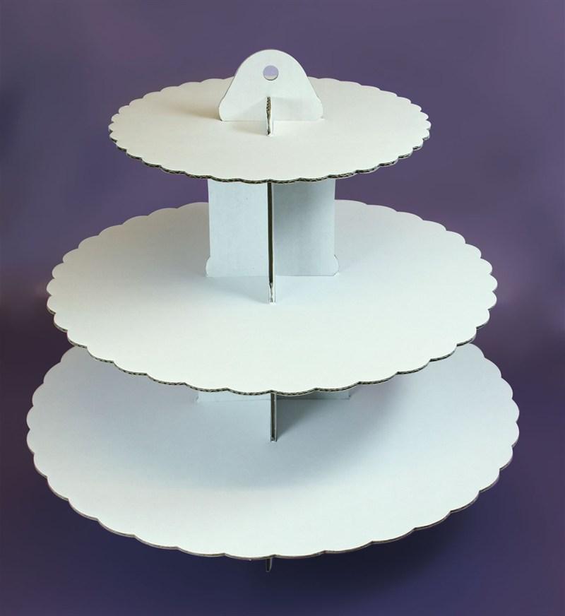 Image of   Cupcakes stativ 3 etager, hvid