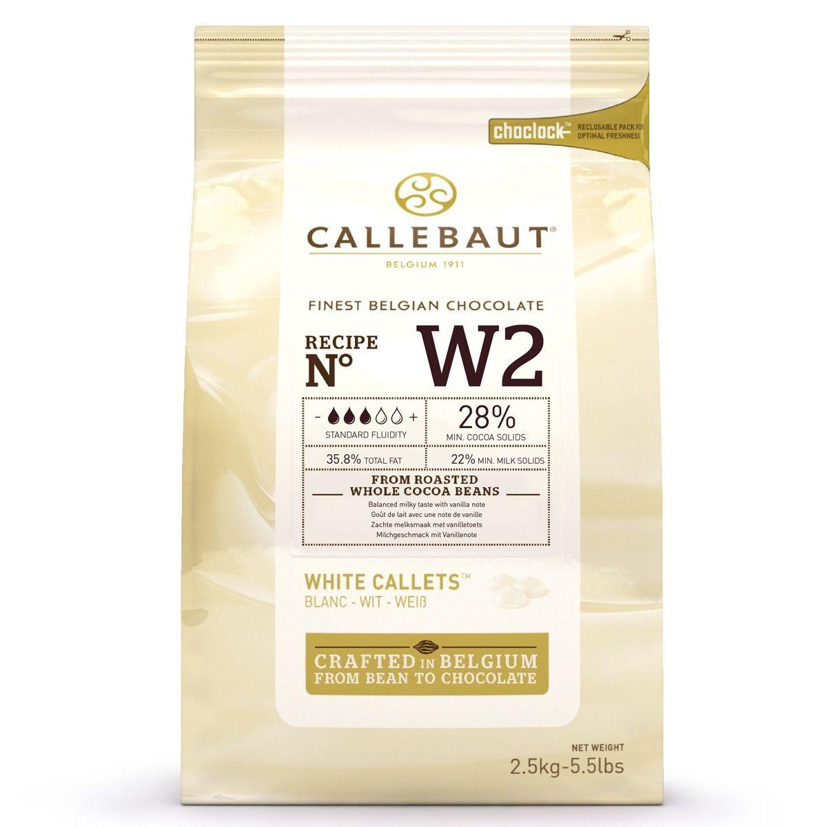 Image of   Callebaut chokolade Callets hvid 28%, 2,5 kg