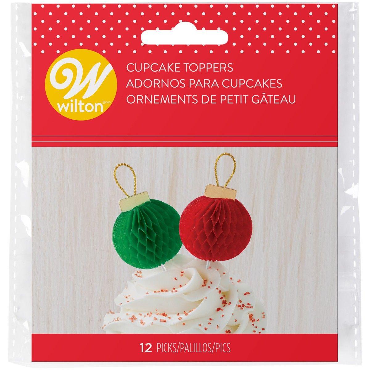 Billede af Cupcake pynt, juletræskugler, 12 stk - Wilton