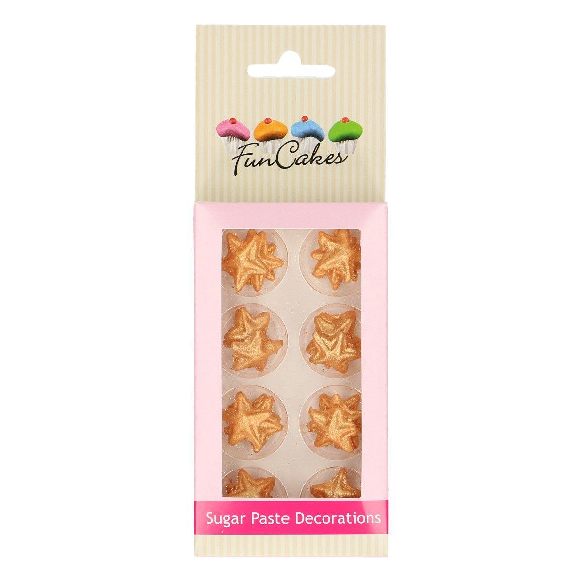 Image of   Funcakes sukkerdekoration guld stjerner, 24 stk