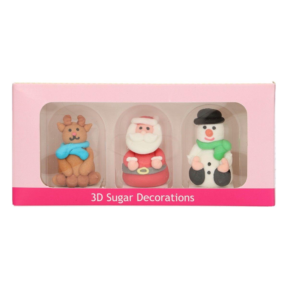 Image of   Funcakes sukkerdekorationer 3D Christmas, sæt/3
