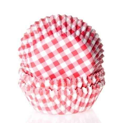 MIni muffinsforme rød/hvid- ternede (60 stk)
