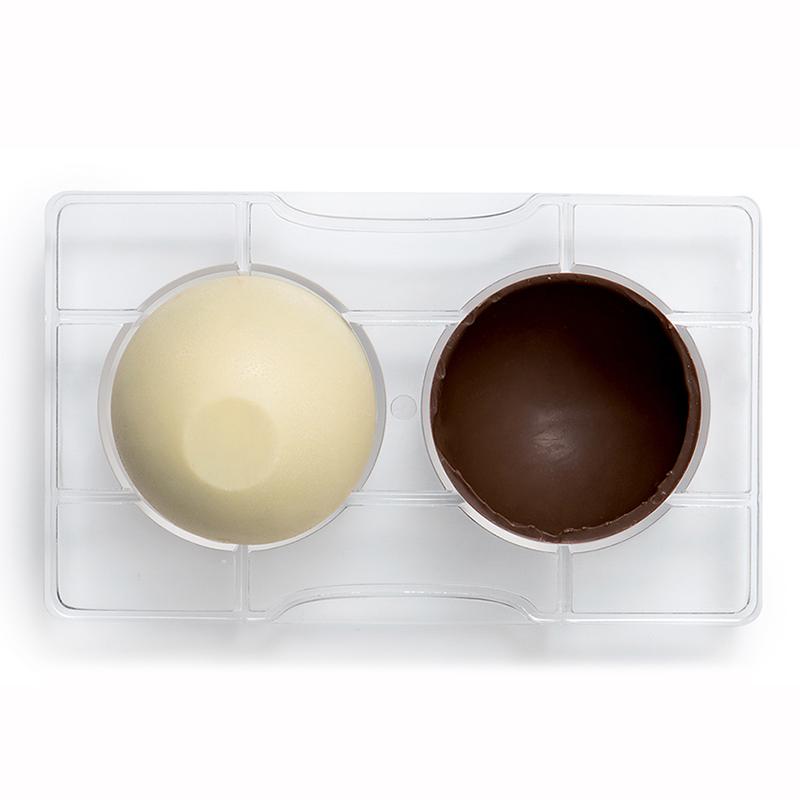 Image of   Professionel chokoladeform i hård plast, halvkugle med base