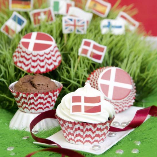 Muffinsform Danske flag - 50 stk