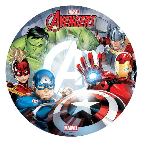 Sukkerprint vaffelpapir Avengers 20 cm