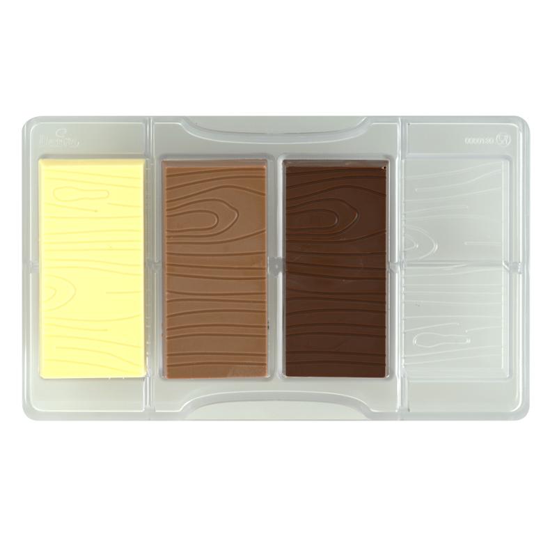 Image of   Træ mønster chokoladeform i hård plastik - professionel