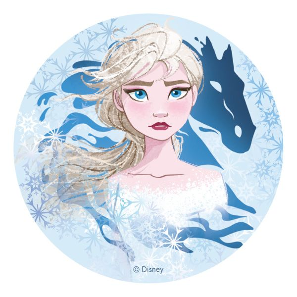 Sukkerprint vaffelpapir Elsa – Frost 2 blå, 20 cm