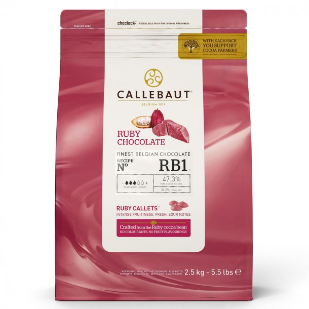 Callebaut Chokolade Callets - Ruby 47,3% - 2,5 kg