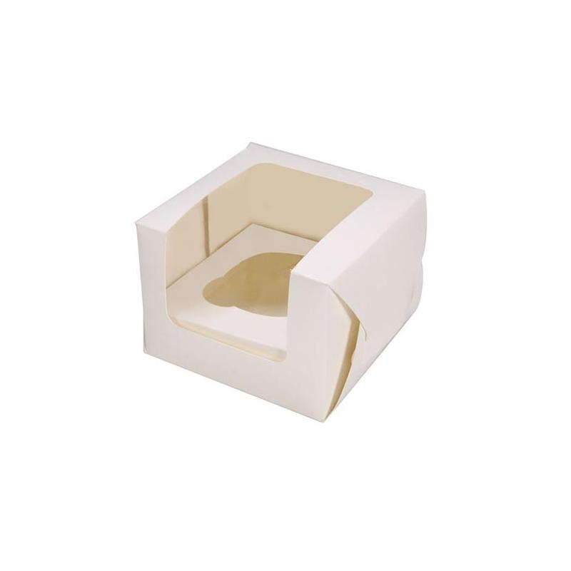 Image of   Cupcake/muffins boks, hvid (til 1 kage)