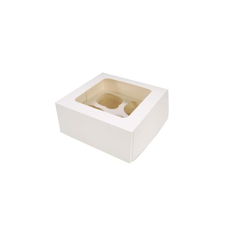 Image of   Cupcake/muffins boks, hvid (til 4 kager)