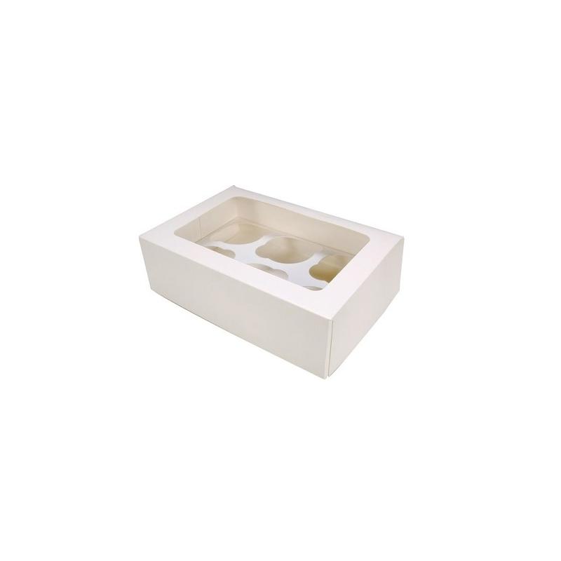 Image of   Cupcake/muffins boks, hvid (til 6 kager)