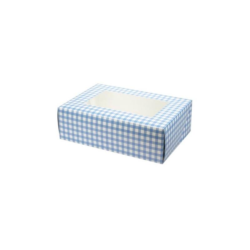 Image of   Cupcake/muffins boks - lyseblå tern, til 6 kager