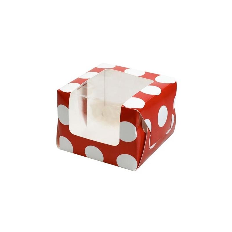 Image of   Cupcake/muffins boks - polkadot, til 1 kage