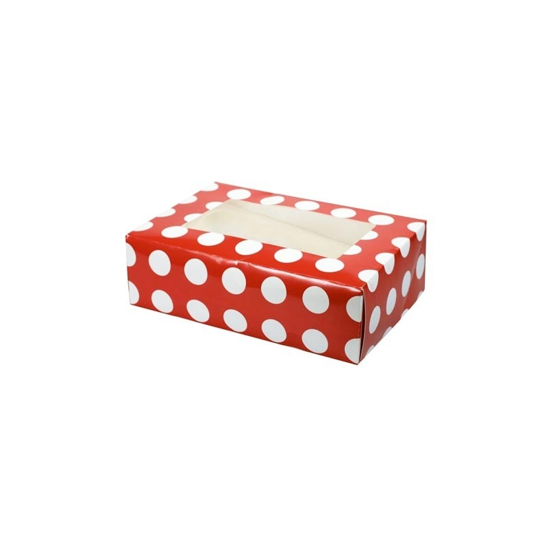 Image of   Cupcake/muffins boks 2 stk. - polkadot, til 6 kager