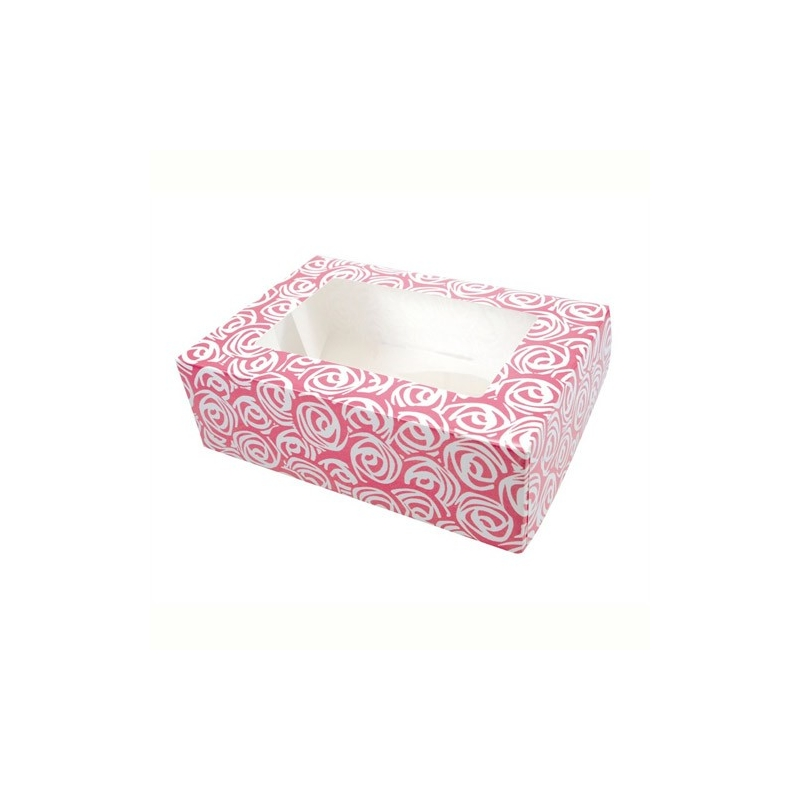 Image of   Cupcake/muffins boks - roser, til 6 kager