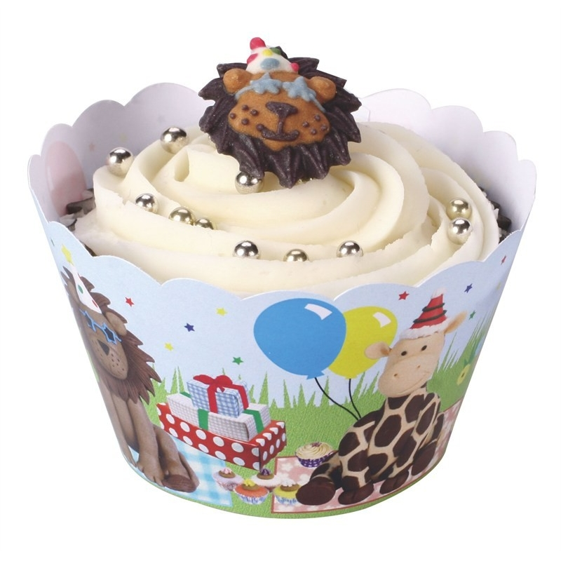 Image of   Cupcake wraps festlige dyr (12 stk.)