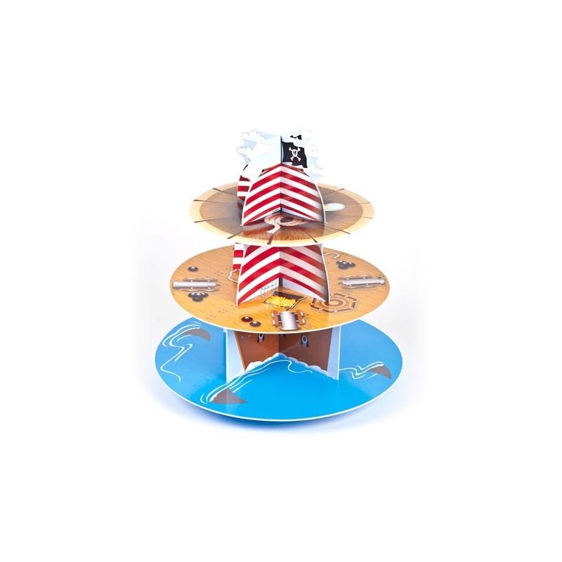 Image of   Cupcakes kagestativ pirat - 3 etager