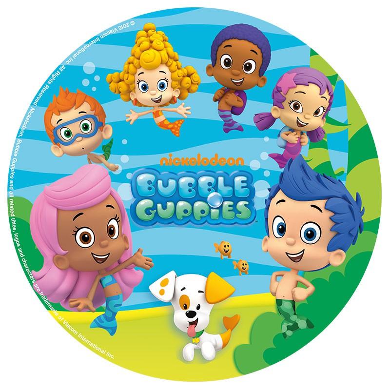 Image of   Spiseligt papir Bubbles Guppies, blå - 20 cm ø