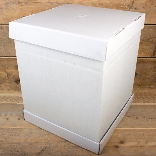 Image of   Hvid kageboks 52 x 52 x 70 høj - 1 stk