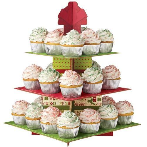 Image of   Cupcakes kagestativ God Jul - 3 etager