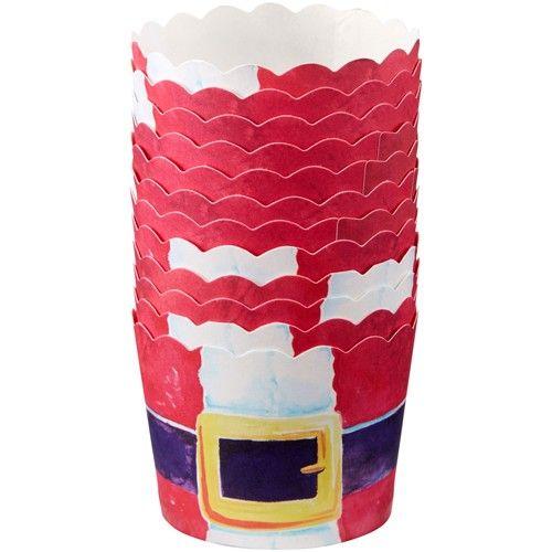 Små papirform med Julemandsbælte - 12 stk