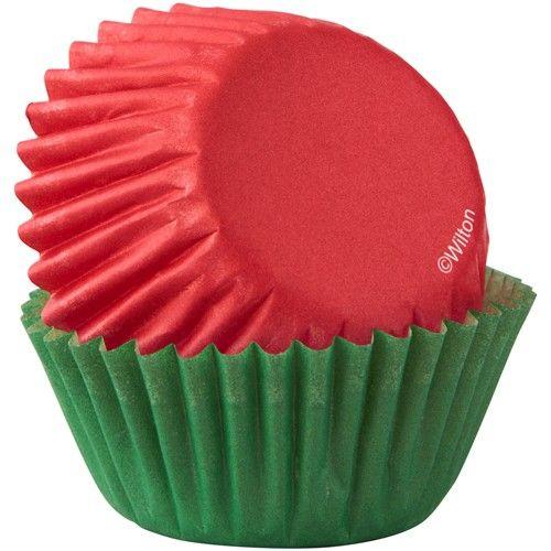 Mini muffisforme rød/grøn - 100 stk