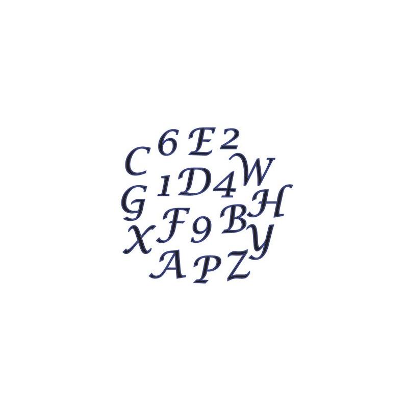 Udstikkersæt store kursive bogstaver og tal