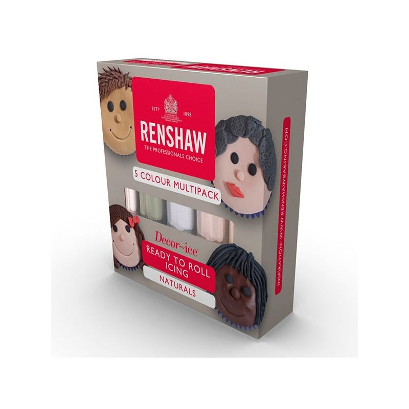 Image of   Fondant hvid/lysebrun/brun/elfenben/sort - Renshaw, 5x100 gram
