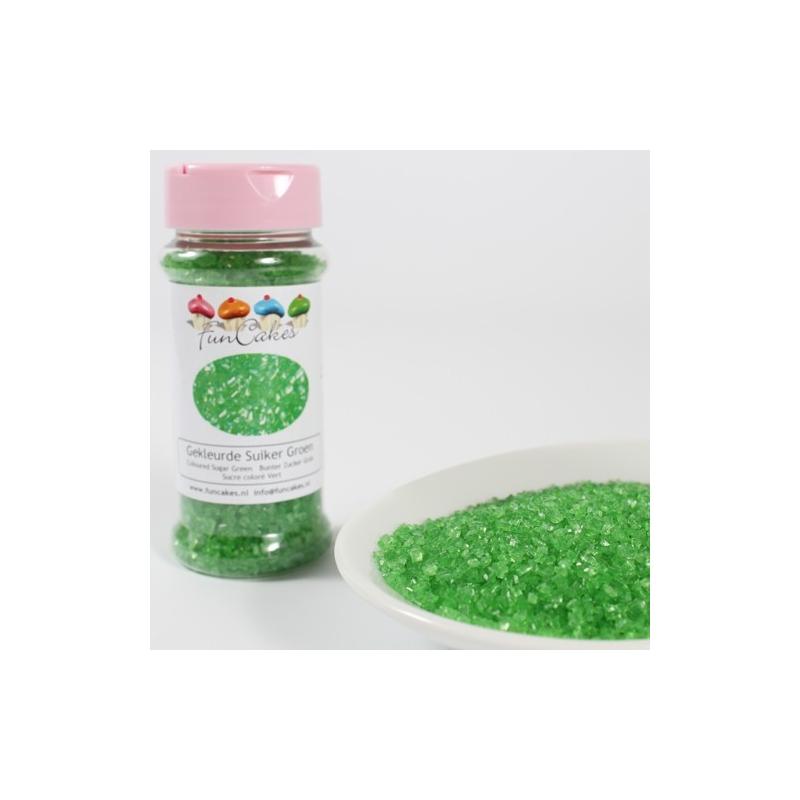 Image of   Farvet sukker grøn - 80 gram