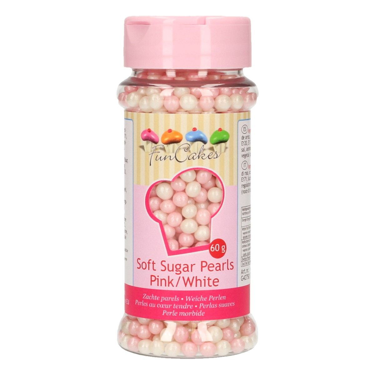 Image of   Bløde sukkerperler lyserød/hvid - 80 gram