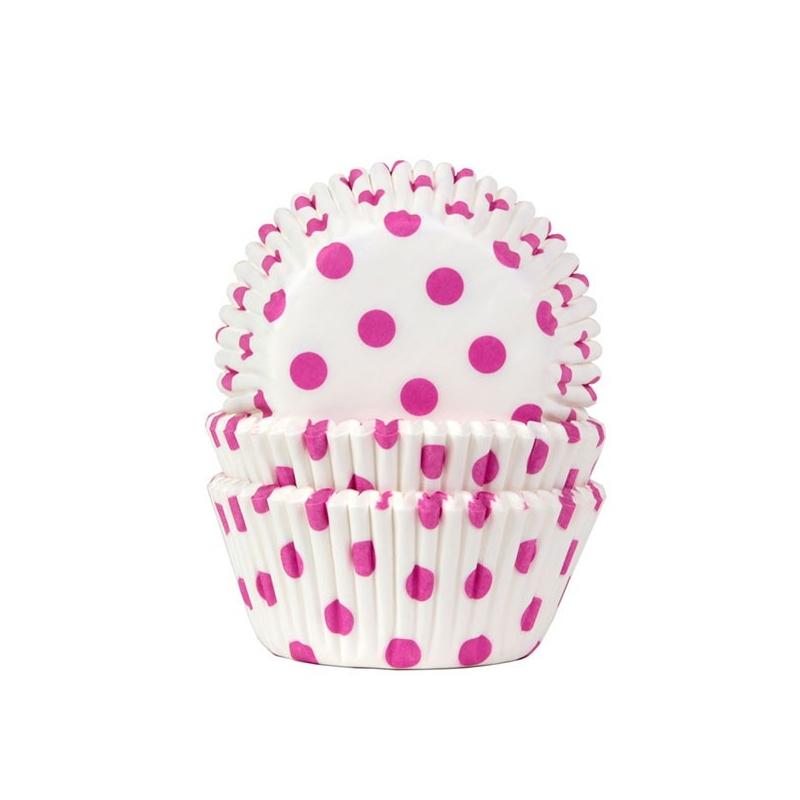 Muffinsforme polkadots - hvid/pink (50 stk.)