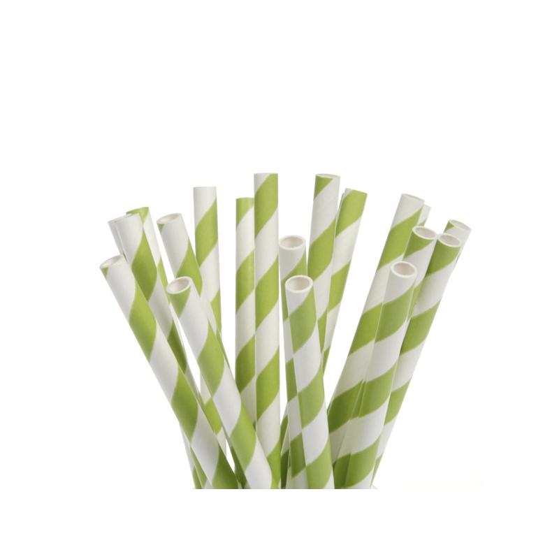 Image of   Popcakes pinde lysegrønne striber - 15 cm (20 stk.)
