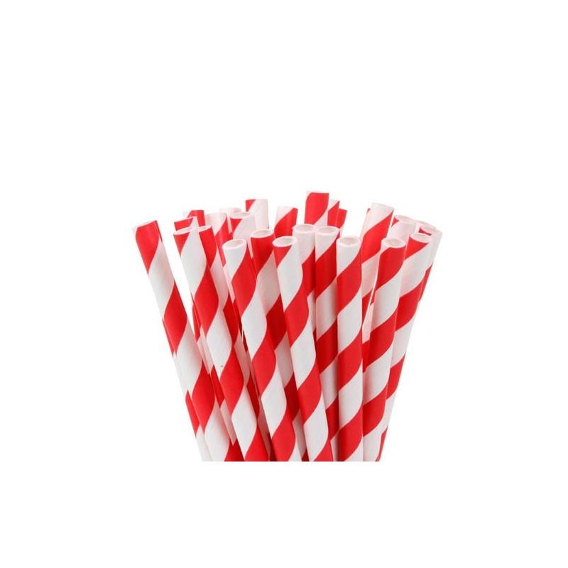 Image of   Popcakes pinde, røde striber - 15 cm (20 stk.)