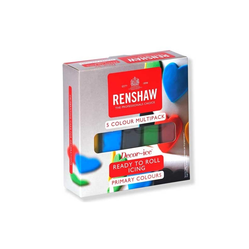 Image of   Fondant blå/gul/grøn/rød/sort - Renshaw, 5x100 gram