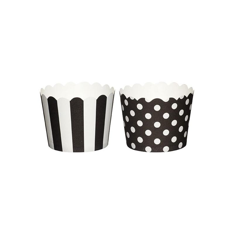 Små papirforme, sorte/hvide, 5,5 cm (20 stk.)