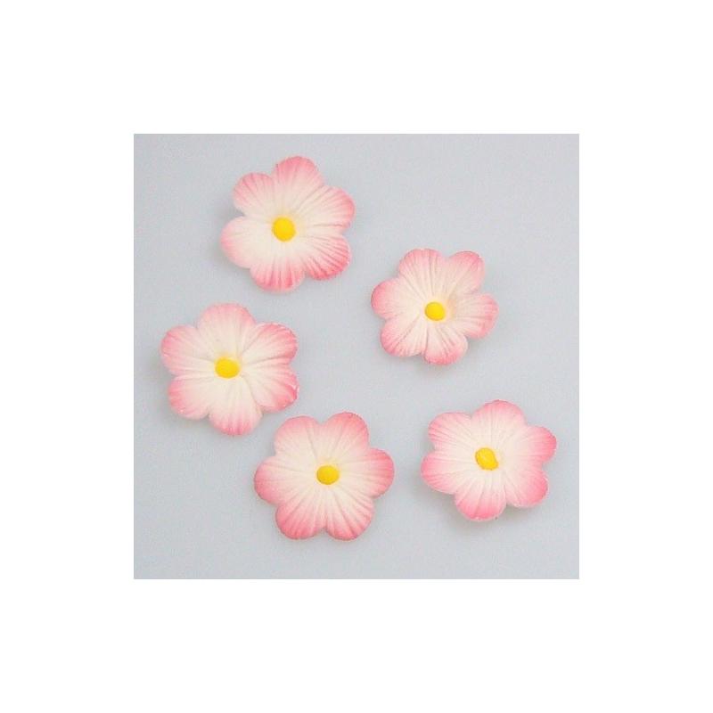 Image of   Sukkerdekoration lyserøde blomster (12 stk.)