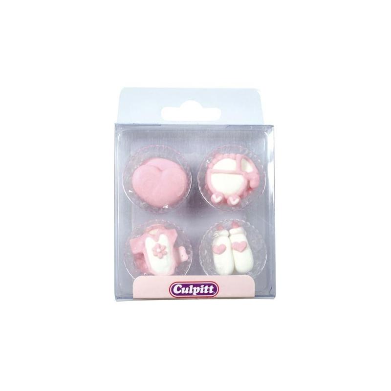 Image of   Sukkerdekoration lyserøde babyfigurer (12 stk.)