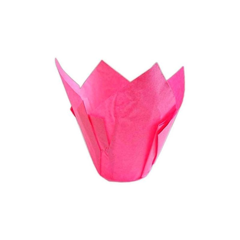 Tulipan muffinsform mørk pink (200 stk.)