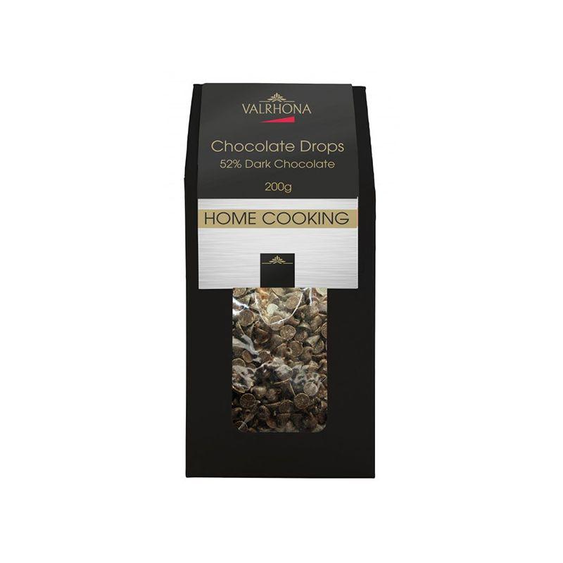 Image of   Valrhona Drops Noir - 52% 200 gram